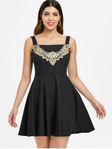Lace Panel Sleeveless Skater Dress