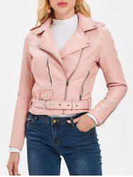 Zip Up Belted Waist Jacket -