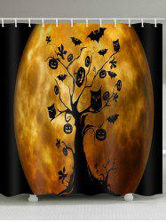 Moon Halloween Tree Print Waterproof Bathroom Shower Curtain -