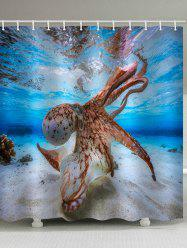 Sea Octopus Print Waterproof Bathroom Shower Curtain -