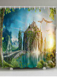 Mountain Top Castle Print Waterproof Bathroom Shower Curtain -