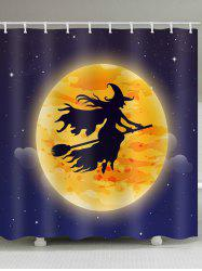 Halloween Moon Witch Print Waterproof Bathroom Shower Curtain -