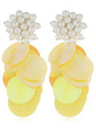 Round Sequins Artificial Pearl Earrings -