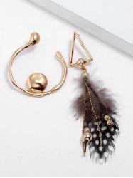 Triangle Shaped Artificial Feather Earrings -