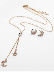 Moon Star Design Pendant Necklace Earrings Set -