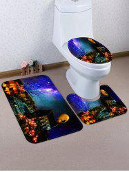 Galaxy Halloween Night Pattern 3 Pcs Bath Mat Toilet Mat -
