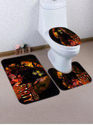 3 Pièces Tapis de Toilette et de Bain Motif La Mort et Inscription Halloween Party -