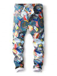 Casual Colorful Printed Zipper Fly Jeans -