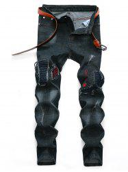 Embroidery Detail Ripped Holes Patch Biker Jeans -