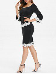 Applique Scoop Neck Bodycon Dress -