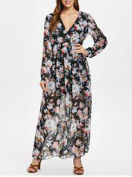 Full Sleeve Floral Faux Wrap Maxi Dress -