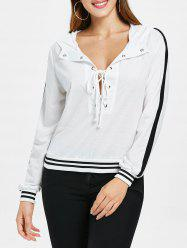 Lace Up Deep V Cut Striped Hoodie -