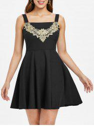 Lace Panel Sleeveless Skater Dress -