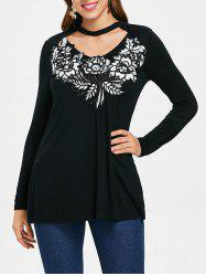 Long Sleeve Applique Choker T-shirt -