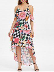 Floral and Checked Pattern Cold Shoulder Dress -