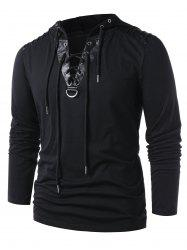 Lace Up Faux Leather Hoodie -