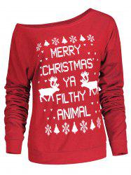 Fresh Style Letter and Snowflake Print Pullover Christmas Sweatshirt For Women -