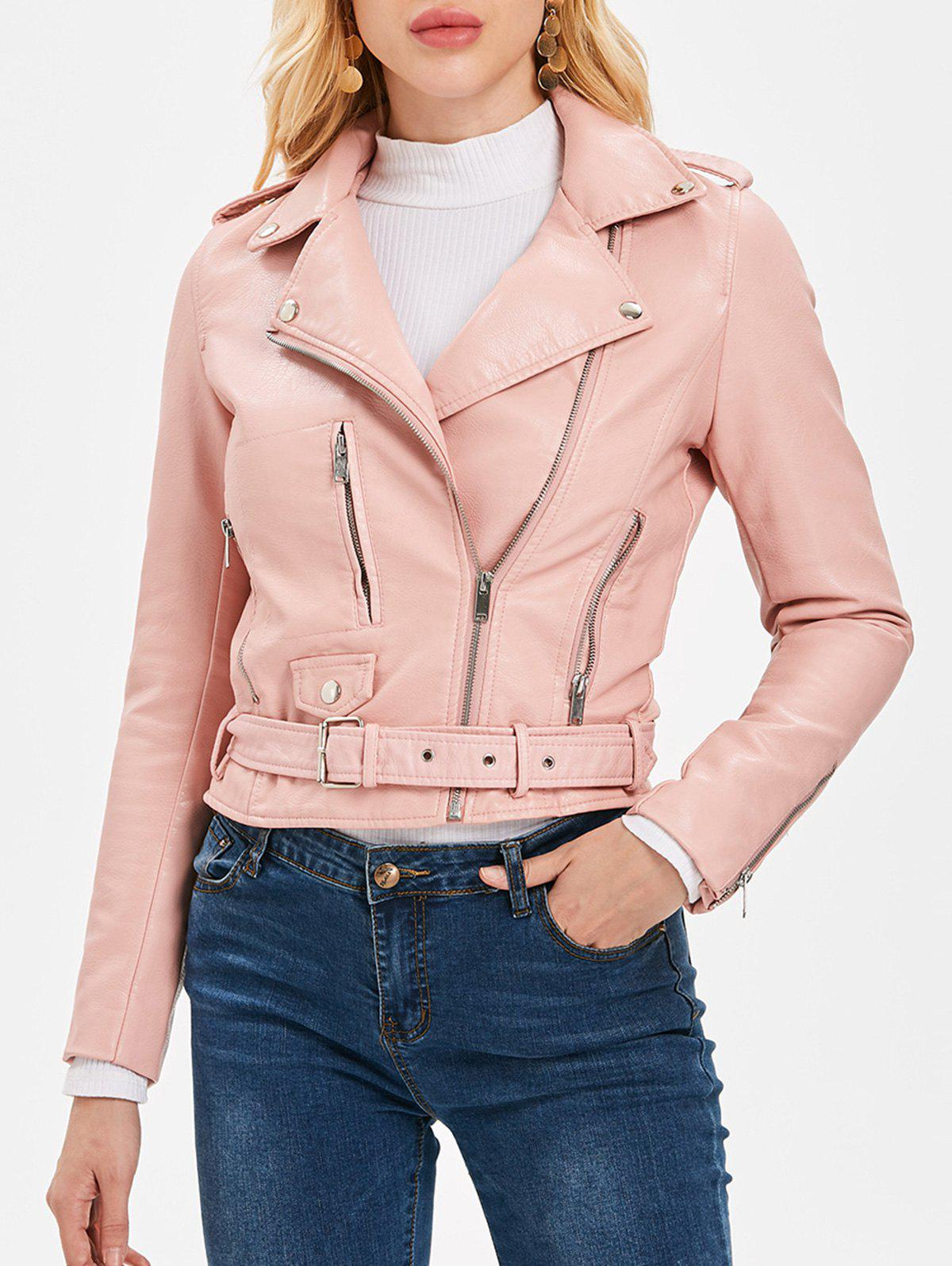 Trendy Zip Up Belted Waist Jacket