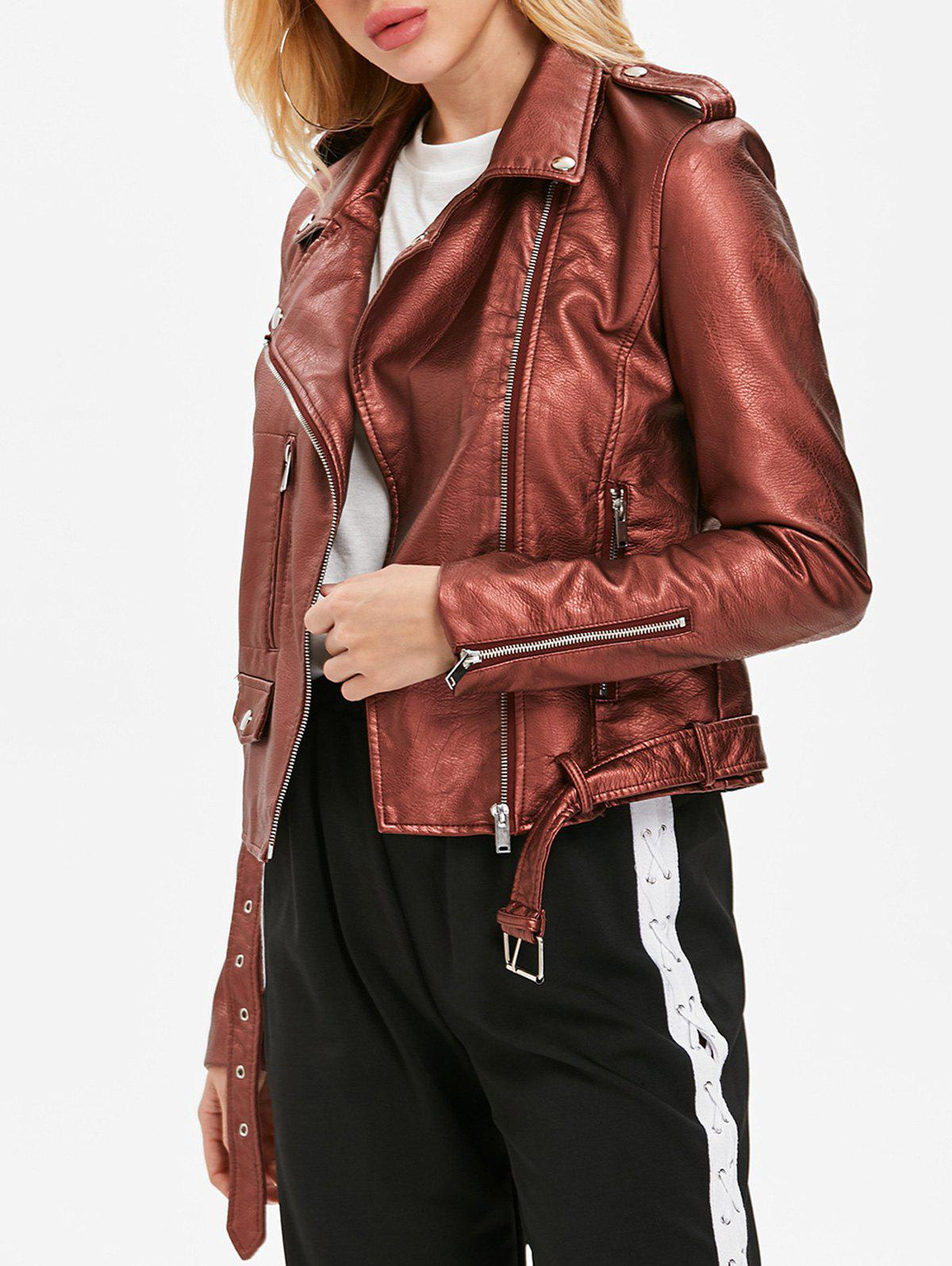Store Zip Up Belted Waist Jacket