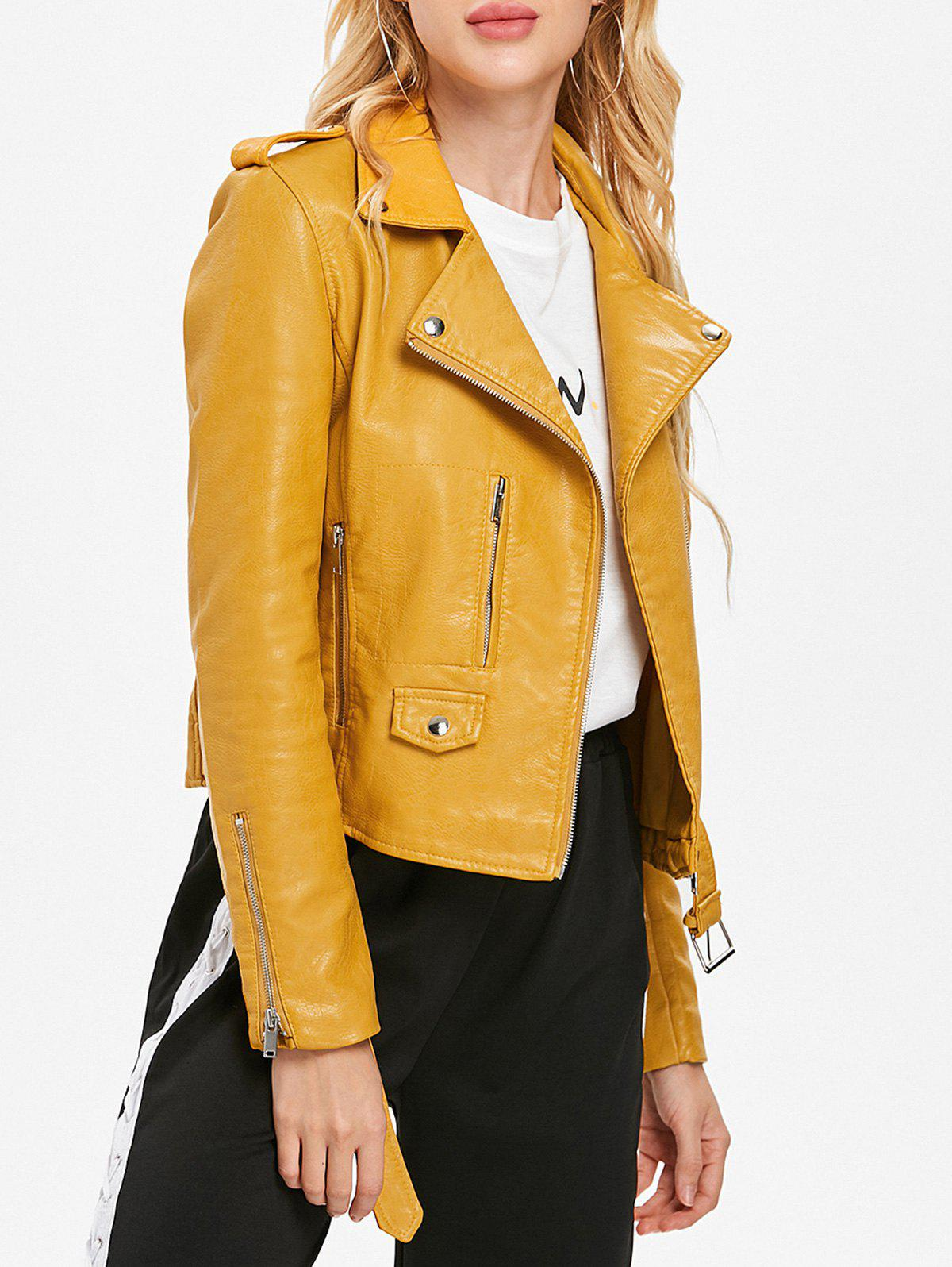 Fancy Zip Up Belted Waist Jacket