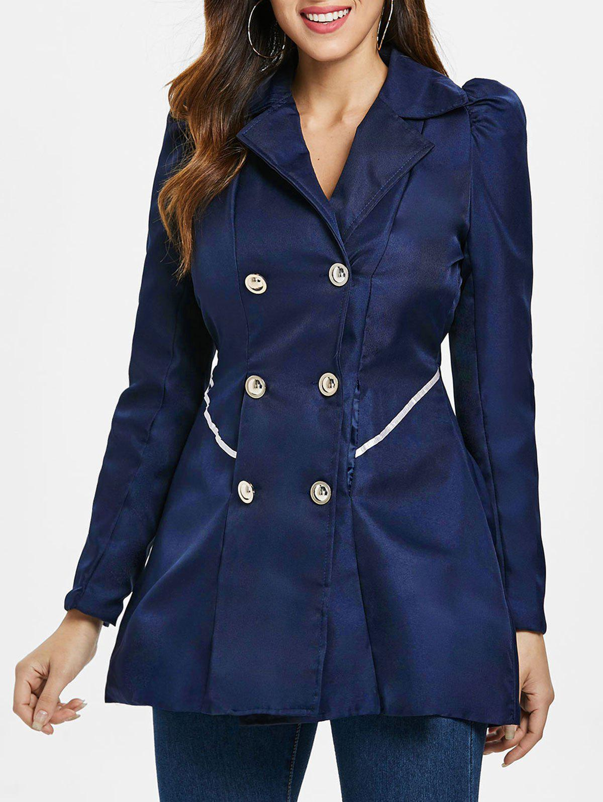 Chic Fit and Flare Coat With Double Breasts