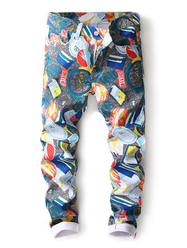 Latest Casual Colorful Printed Zipper Fly Jeans