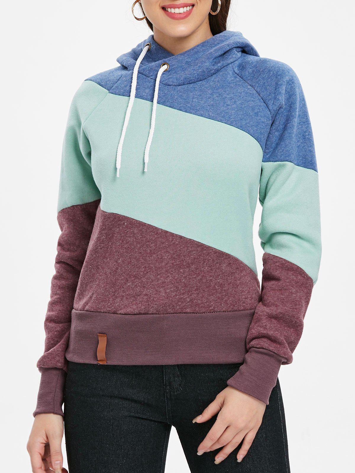 New Casual Color Block Long Sleeves Hoodie For Women