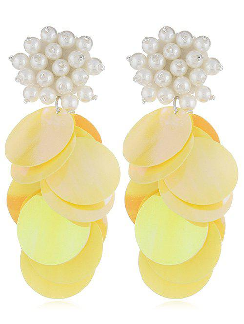 Online Round Sequins Artificial Pearl Earrings