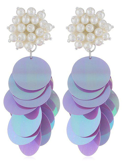Latest Round Sequins Artificial Pearl Earrings