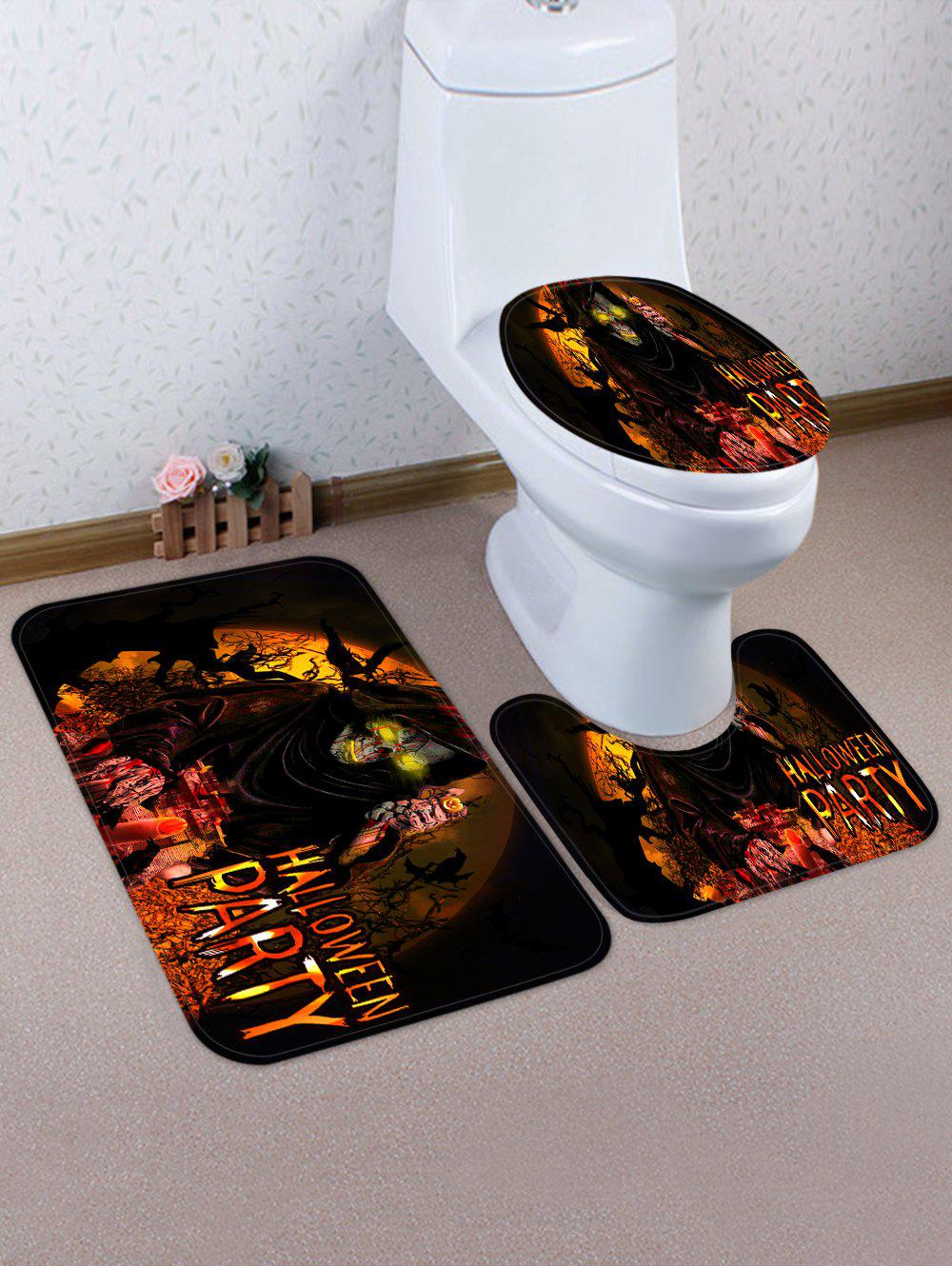 3 Pièces Tapis de Toilette et de Bain Motif La Mort et Inscription Halloween Party