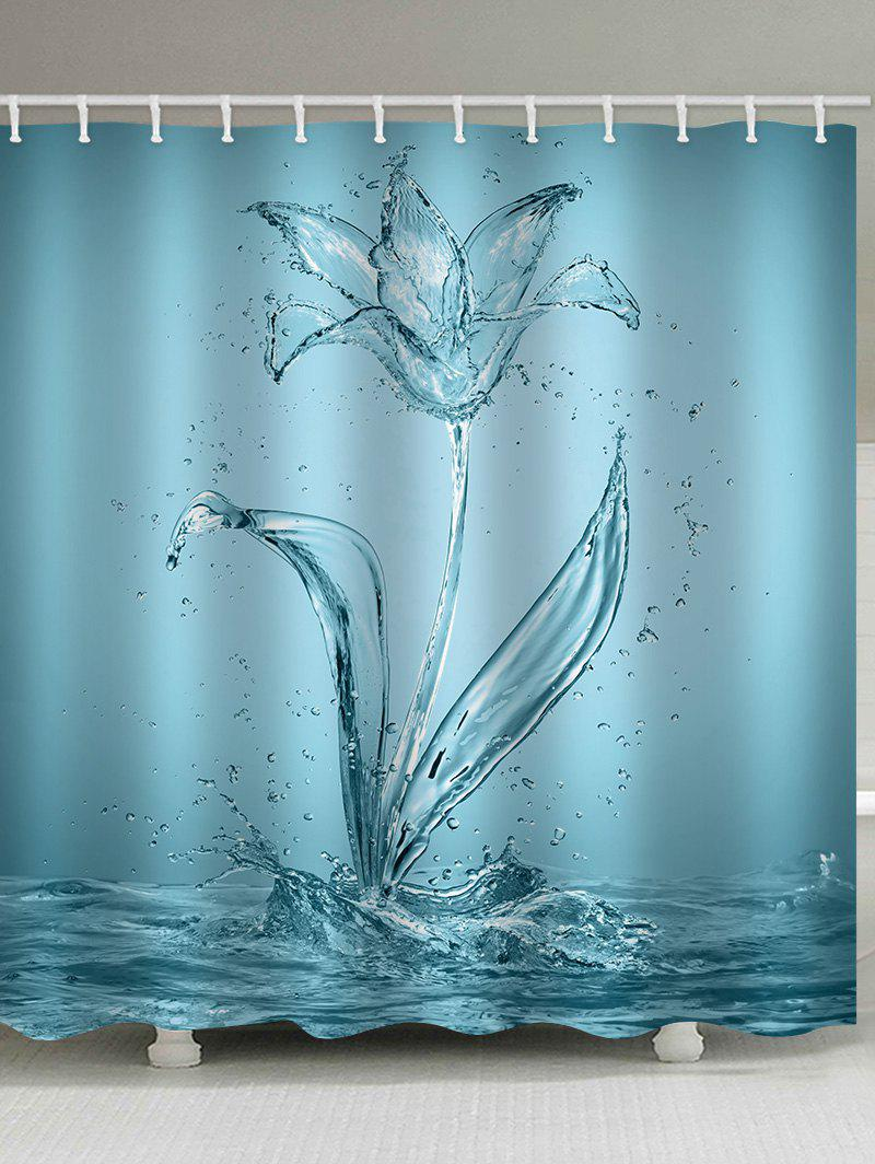 Fancy Water Flower Print Waterproof Bathroom Shower Curtain
