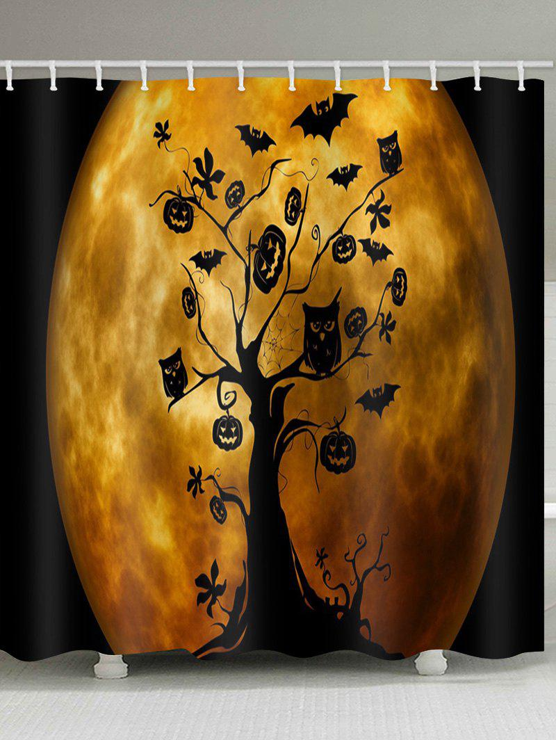 Chic Moon Halloween Tree Print Waterproof Bathroom Shower Curtain