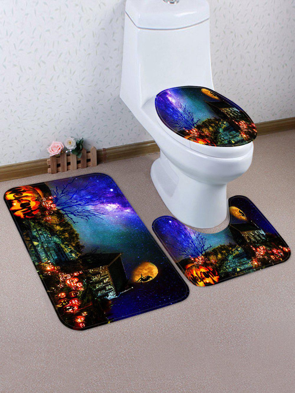 Discount Galaxy Halloween Night Pattern 3 Pcs Bath Mat Toilet Mat