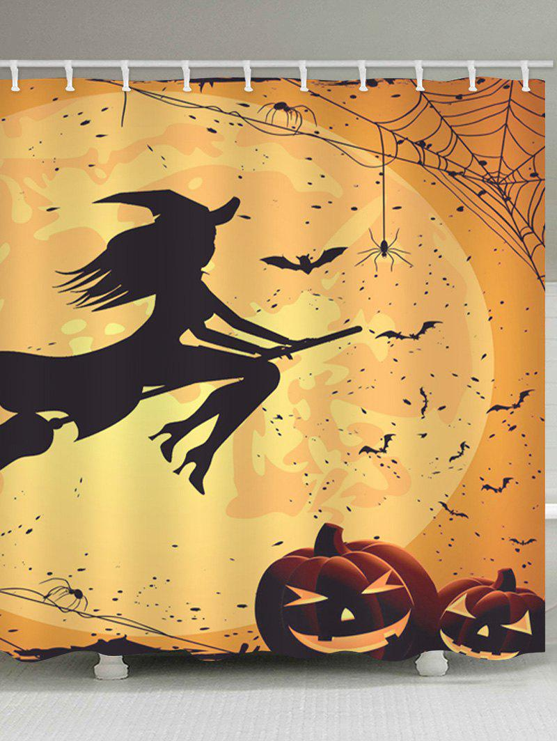 Affordable Halloween Witch Print Waterproof Bathroom Shower Curtain