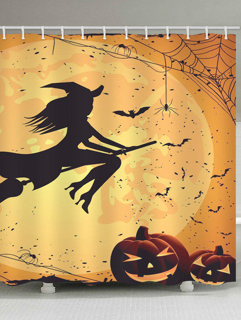 Chic Halloween Witch Print Waterproof Bathroom Shower Curtain