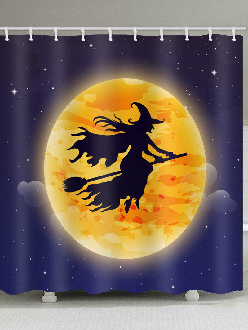 Outfits Halloween Moon Witch Print Waterproof Bathroom Shower Curtain