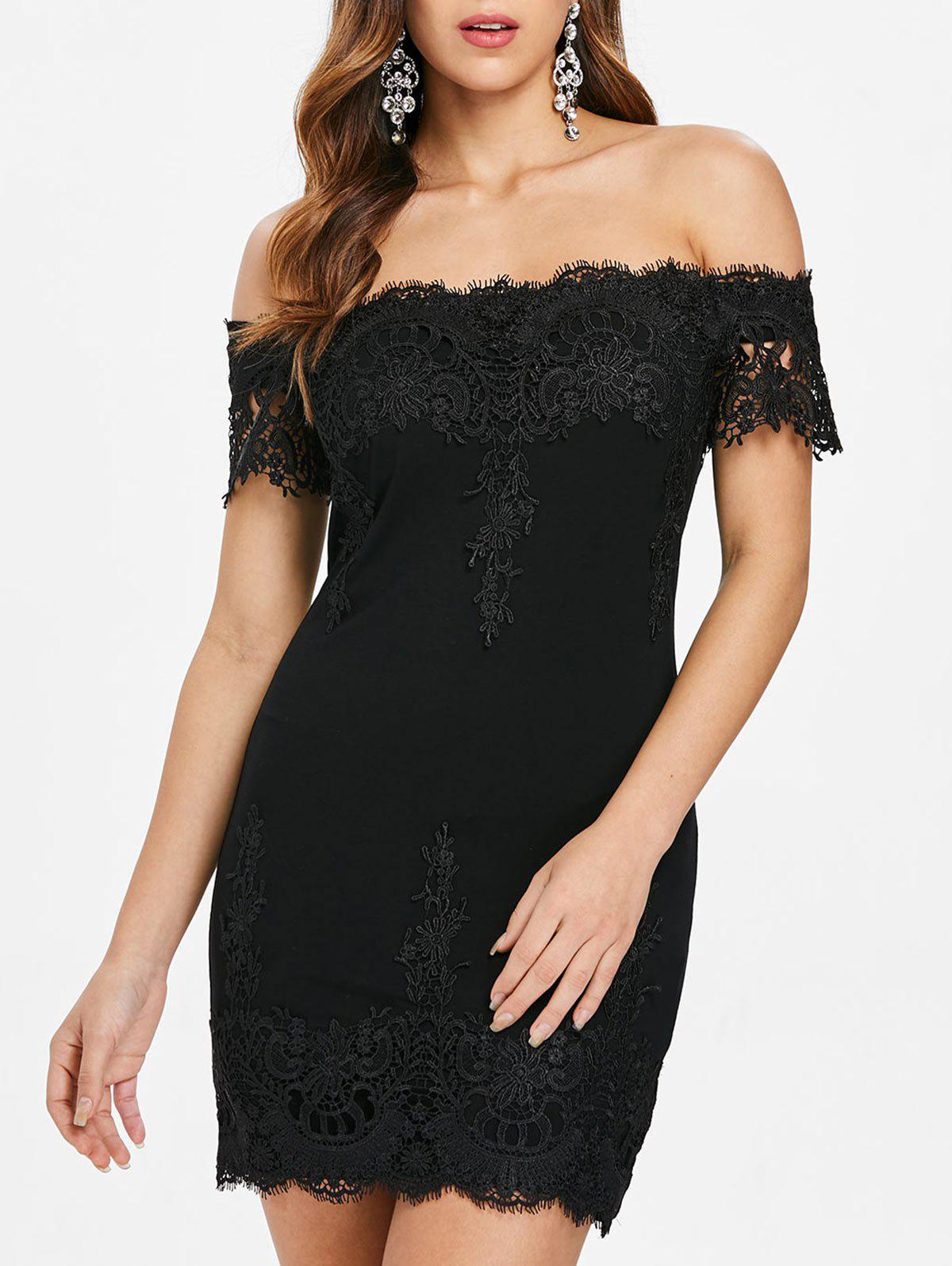 New Lace Trim Off The Shoulder Mini Dress