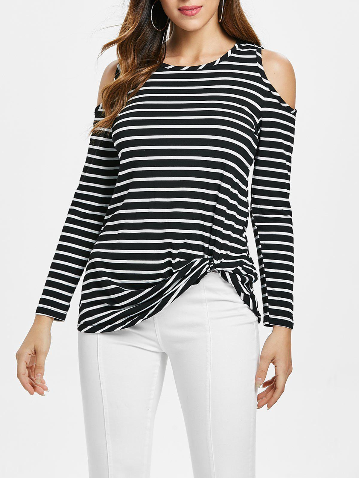 Outfit Knot Front Striped Open Shoulder Tee
