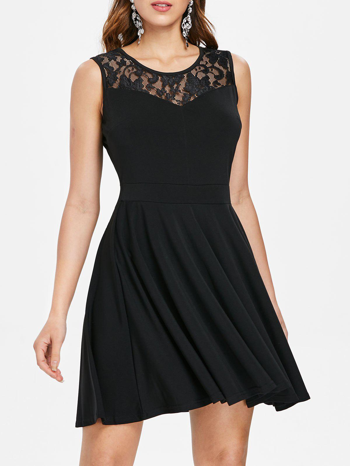 Unique Lace Insert Sleeveless Fit and Flare Dress