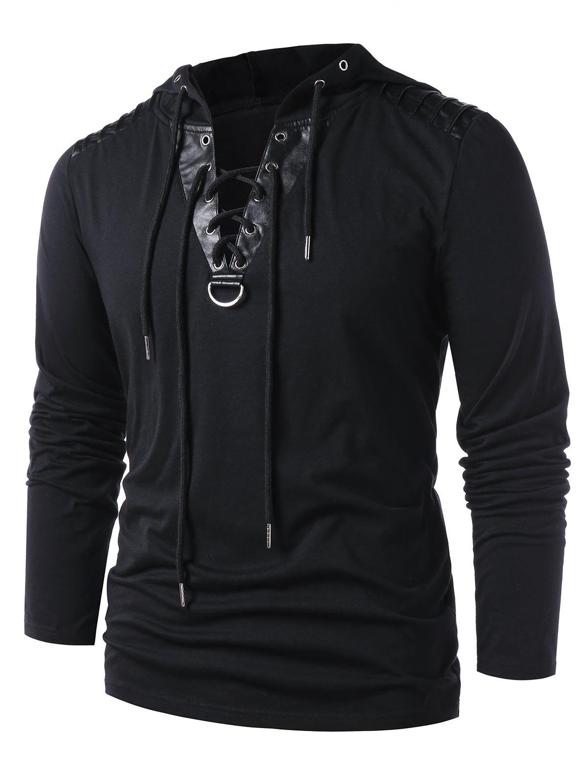 Online Lace Up Faux Leather Hoodie