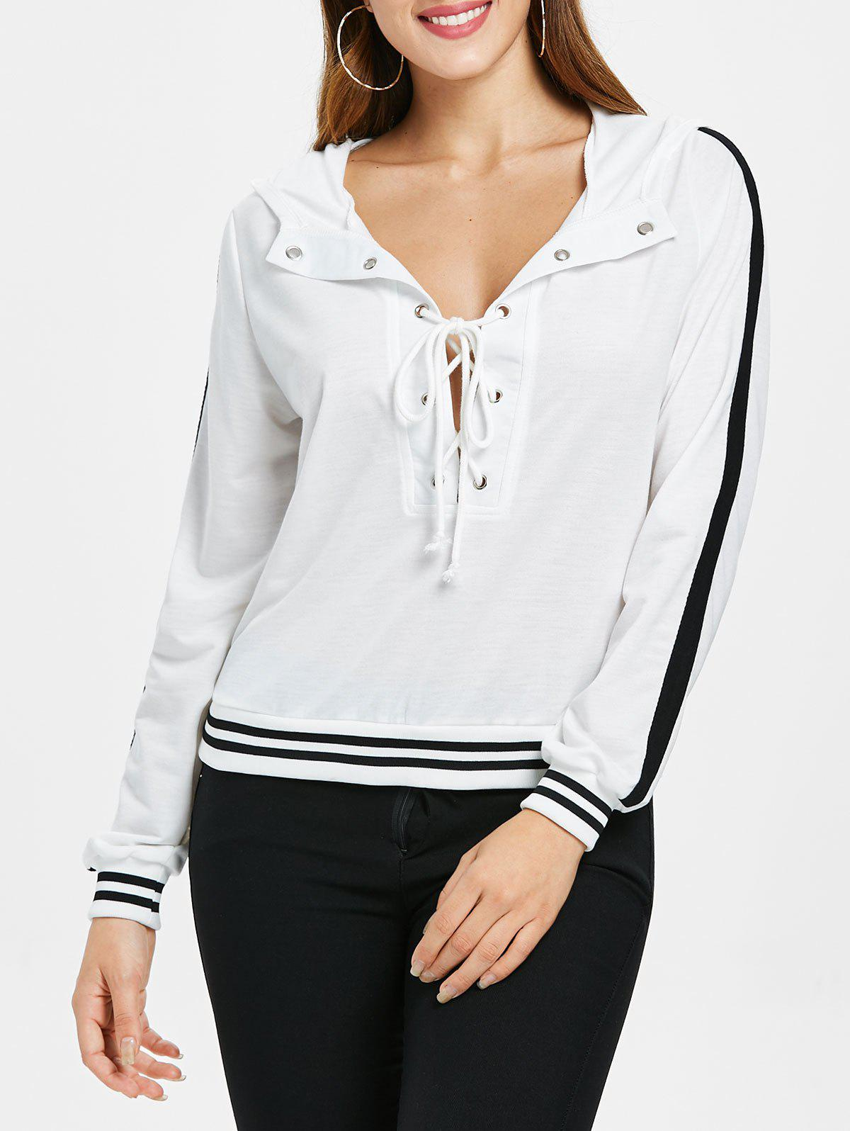 Chic Lace Up Deep V Cut Striped Hoodie