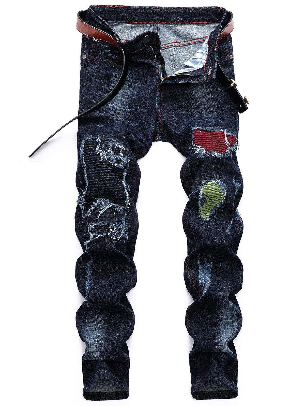 Sale Color Block Ripped Holes Patchwork Biker Straight Jeans