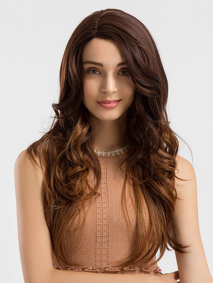 Sale Long Side Parting Wavy Colormix Lace Front Synthetic Wig