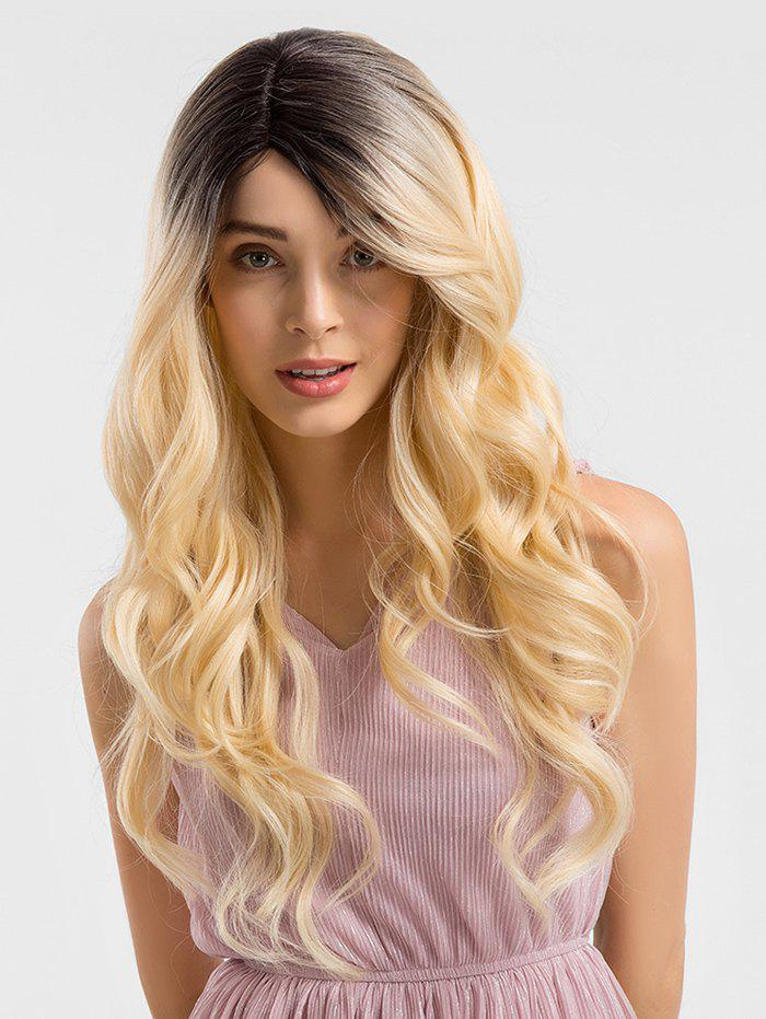 Cheap Long Side Parting Gradient Wavy Synthetic Lace Front Wig