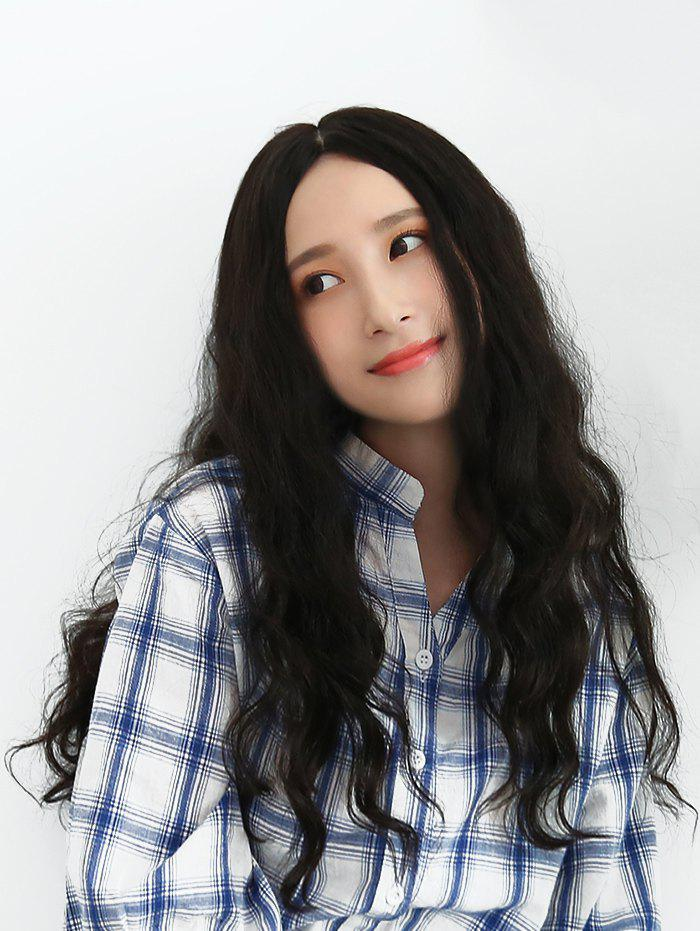 Trendy Center Parting Long Natural Wavy Human Hair Wig