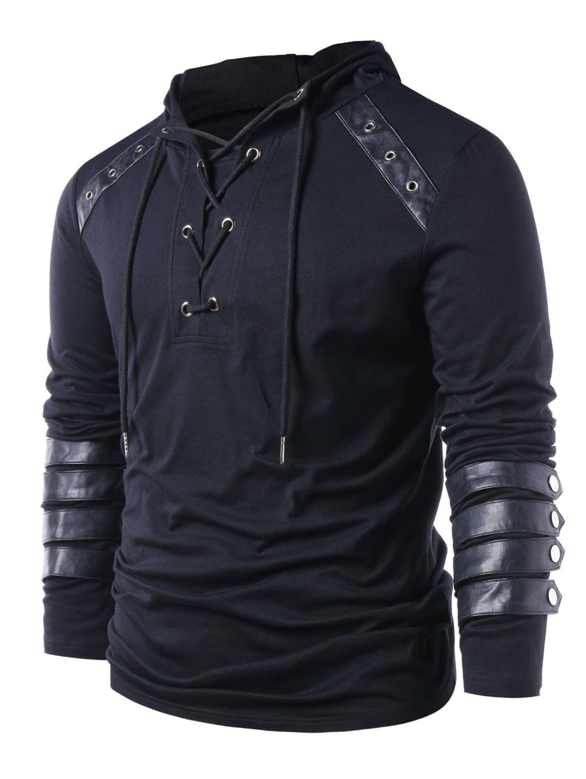 Store Hooded Lace Up Sweatshirt