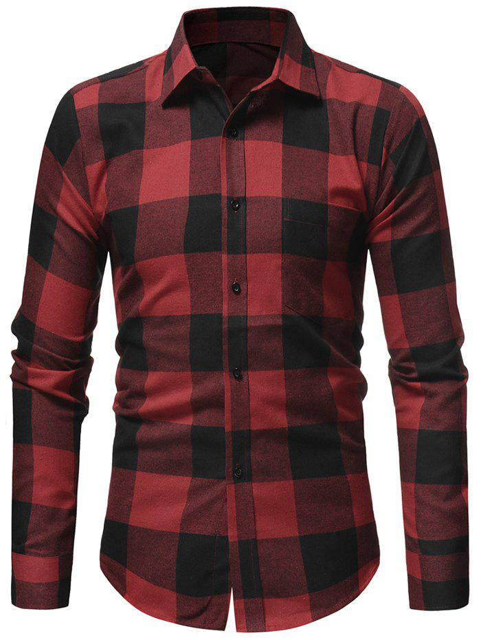 Outfit Chest Pocket Check Print Casual Shirt