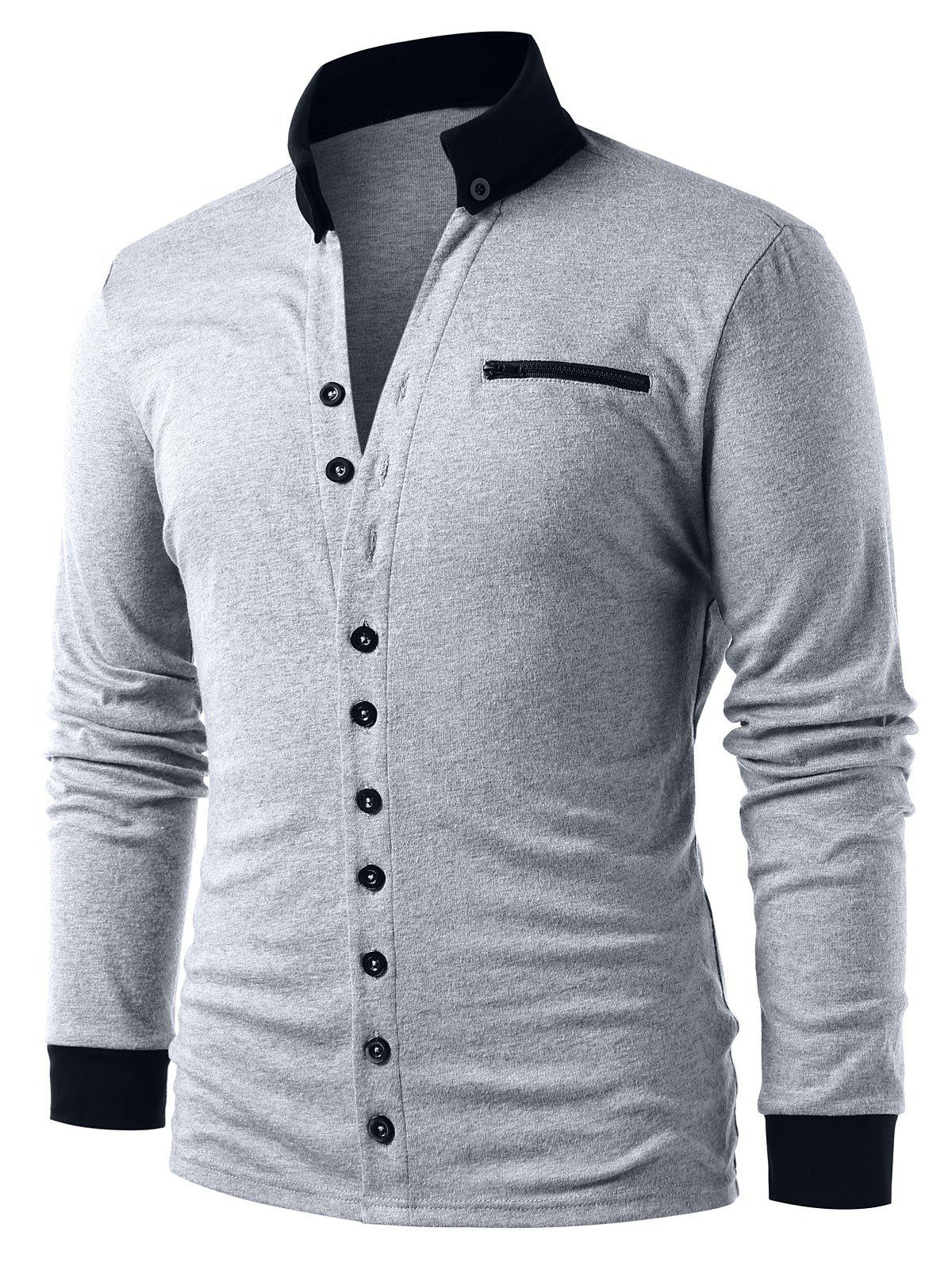 Outfit Button Up Contrast Trim Cardigan