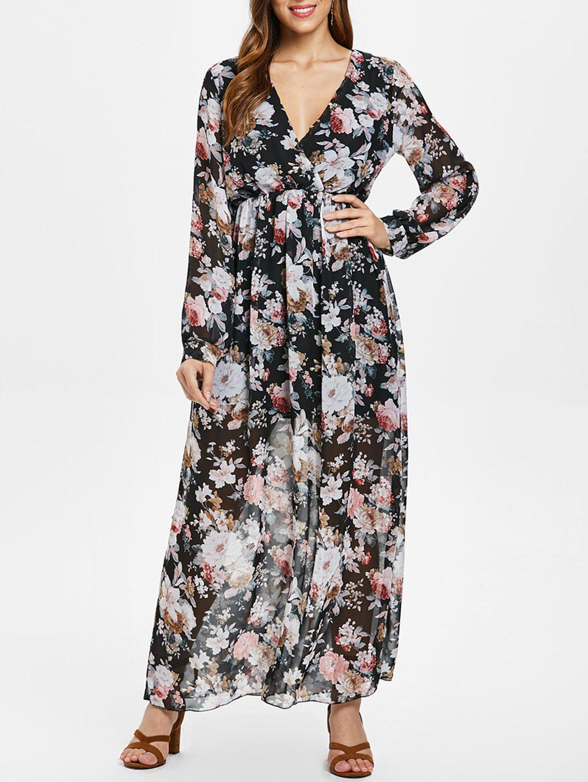Outfits Full Sleeve Floral Faux Wrap Maxi Dress