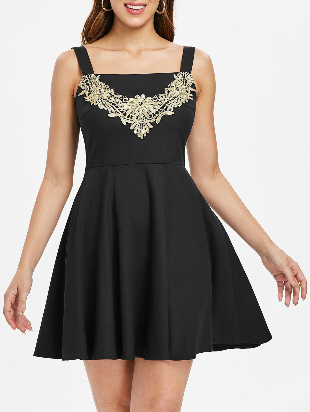 Online Lace Panel Sleeveless Skater Dress